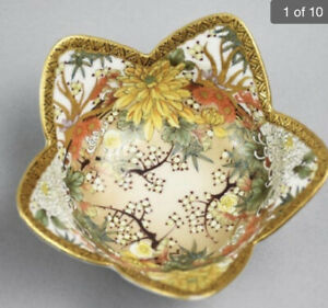 Antique Japanese Satsuma Porcelain Ruffled Bowl With Gold Accents