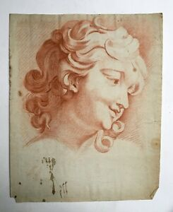 Drawing Antique With Sanguine Portrait Of Woman Large Format 18th Or Front GBP 306.94