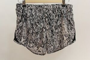 Womens Nike Running Shorts Small S Built in Briefs Black White Print Athletic $10.00