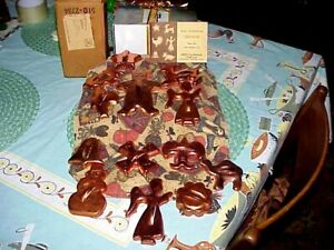 13 Vintage Mirror Aluminum Holiday Christmas Cookie Cutters Copper Colored W BOX $15.95