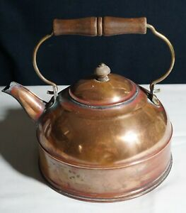 SMALL ANTIQUE COPPER KETTLE w BRASS HANDLE $22.99