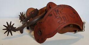 Matching North  Judd Spurs Whirling Log Symbol Billy Maples Texas Leather