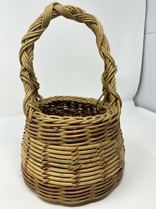 Vintage Handmade Basket 12quot; tall 6quot; Wide $12.00