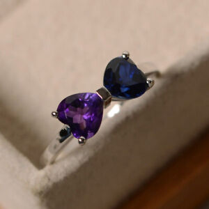 Sterling Silver Heart Shape Blue Sapphire and Amethyst Bow Ring Two Stone Ring $64.80