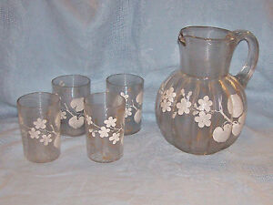 Antique Thread Glass Pitcher amp; Glasses hand painted flowers amp; gold 1800#x27;s? $84.50
