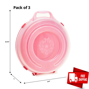 Set of 3 Plastic Circular Storage Container 24in Wreath Decor Red Base Clear Lid $70.55