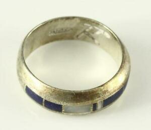 VINTAGE Sterling Silver Artisan Crafted Jewelry 8MM Band Ring MOP Lapis Lazuli $31.48