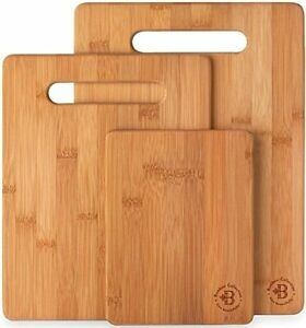 3 Piece Bamboo Cutting Board Set Wooden Kitchen Boards
