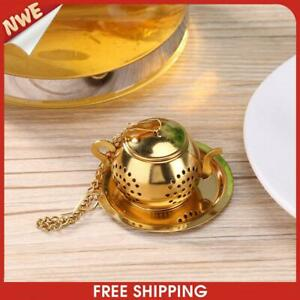 Gold Stainless Steel Tea Spoon Infuser Holder Filter Tea Strainer with Base