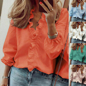 Women Long Sleeve Ruffle V Neck Casual Blouse T Shirt Tops Loose Floral Tunic $13.98
