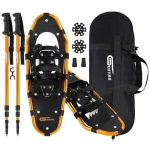 25 Inches Light Weight Snowshoes for Women Men Youth Kids Aluminum golden black $110.00