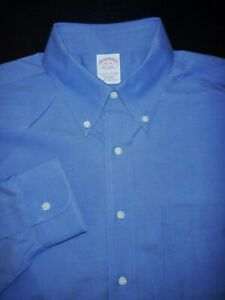 BROOKS BROTHERS DRESS SHIRT 16 34 35 BLUE PINPOINT OXFORD TRADITIONAL NON IRON $27.99