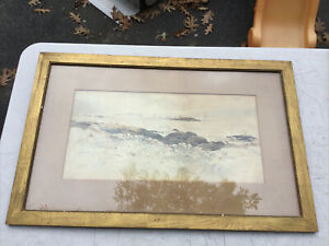Large Antique Walter Chaloner Watercolor Painting Coast Seascape Original Frame $125.00