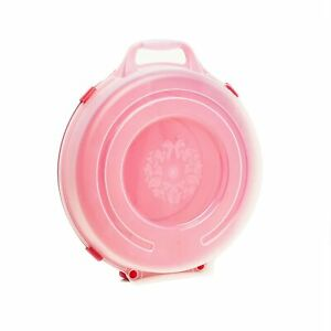 Set of 3 Plastic Circular Storage Container 24in Wreath Decor Red Base Clear Lid $65.87