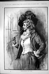 Antique Old Print 1892 Beautiful Woman Hunting Dress Looking Out The Window