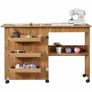 Foldable Sewing Table Multi Functional Sewing Machine Craft Table w Shelves $99.99