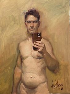 After The Bath Self Portrait oil paintings original By Hector M. Hernandez $800.00