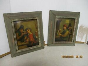 PAIR OF ANTIQUE OIL PAINTINGS ON METAL WITH PERIOD FRAMES VG CONDITION. $595.00
