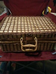 Large Sewing Basket Square with leather latches $25.00