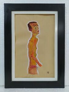 ANTIQUE PAINTING EGON SCHIELE WATERCOLOR ON PAPER WITH FRAME IN GOOD CONDITION $250.00