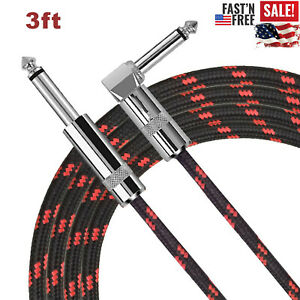 Right Angle Guitar Cable Bass Instrument Cord Pedal 1m Red Black 1 4quot; AMP 6.35mm $9.88