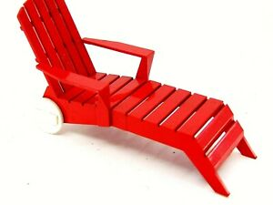 DOLLHOUSE MINIATURE DOLL RED SUN TAN LOUNGE CHAIR IDEAL 2 1 2quot; X 4 1 2quot; L TOY $15.99