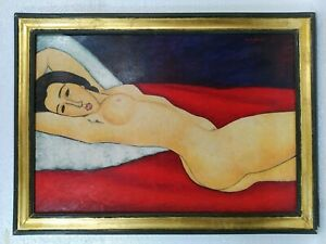 ANTIQUE OIL ON CANVAS AMADEO MODIGLIANI 1910 WITH FRAME IN GOLDEN LEAF VERY NICE $1500.00