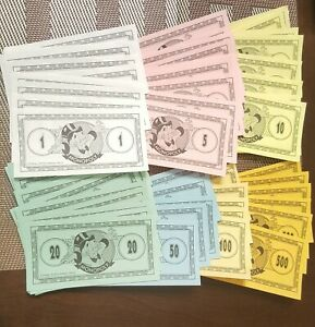 Monopoly The Disney Edition Game 2001 Replacement Play Money 45pcs total amount $4.00