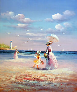 1800s Mother And Daughter Family Beach Sand Ocean 20X24 Oil Painting STRETCHED $77.77