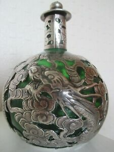 Stunning Antique CHINESE ORIENTAL EXPORT SILVER CAGE SCENT BOTTLE by LUEN HING GBP 220.00