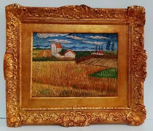 ANTIQUE OIL ON CANVAS BY VAN GOGH 1870 WITH FRAME IN GOLDEN LEAF NICE GOOD C. $450.00