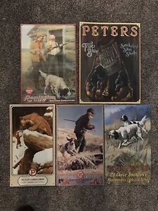 WINCHESTER Remington Peters Hunting tin sign retro wall decor Lot Of 5 Signs