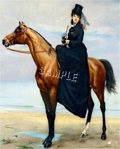 VICTORIAN Lady SIDESADDLE on Beach CANVAS Art LARGE $49.80