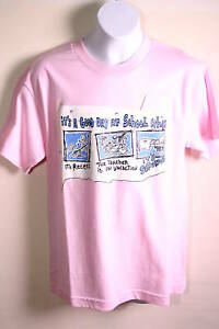 BOYS PINK GOOD DAY AT SCHOOL TSHIRT SIZE SMALL 100% COTTON SHORT SLEEVE NWT $9.99