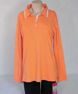 Under Armour Golf Long Sleeve Apricot Loose Fit Polo Shirt UPF 30+ Womans XL NWT