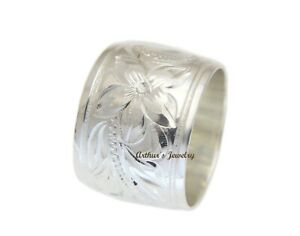 925 STERLING SILVER 15MM HAWAIIAN PLUMERIA FLOWER SCROLL SMOOTH EDGE RING
