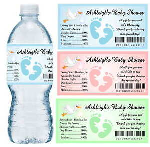 30 BABY SHOWER WATER BOTTLE LABELS PARTY FAVORS Waterproof Ink Personalized