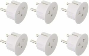 American to European Grounded Schuko Outlet Plug Adapter German France 6 Pack