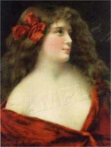 VICTORIAN LADY in Red CANVAS Art ANGELO ASTI Brunette *CANVAS* Antique Art Print $25.90
