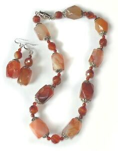 Chunky Red Agate Necklace and Hook Earring Set Silver Plated 17 inches