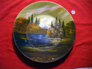 Miners goldpan with Oil painting of alaska folk art SEE
