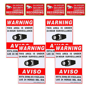8x Security Camera Video Surveillance Stickers Warning Decals Sign Home CCTV c0j