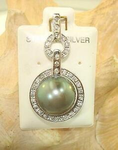 Sterling Silver 13.0mm 14.46Cts Tahitian Black Pearl CZ Designer Pendant #4B