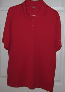 Nike Polo Golf Mens Red Fit Dry Short Sleeve Shirt L