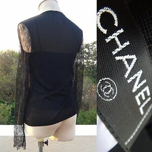 Rare Vintage Chanel PARIS Black Spring Lace Stretchy Pewter Ring Twin Set 36S-M