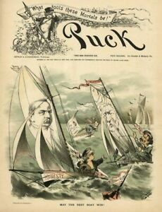 SAILBOAT RACING MAY THE BEST BOAT WIN POLITICS HONESTY PUCK 1887 LITHOGRAPH $65.00