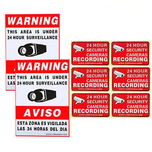 8x CCTV Surveillance Home Security Camera Video Sticker Warning Decals Signs 1RO