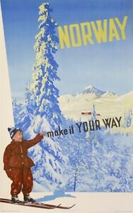 NORWAY MAKE IT YOUR WAY ! VINTAGE SKI POSTER  MOUTAIN LAKE SNOW  OLD POSTER 1952