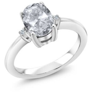 1.64 Ct Oval White Topaz 925 Sterling Silver 3 Stone Engagement Ring