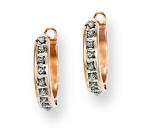 Ladies 14k Rose Gold Round Diamond Diamond Fascination Hinged Hoop Earrings